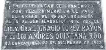 placa conmemorativa de la primera celebracion del grito de independencia