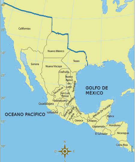 extencion territorial de mexico durante el primer imperio mexicano