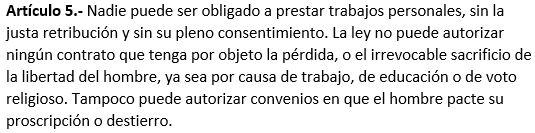 articulo quinto de la constitucion de 1857